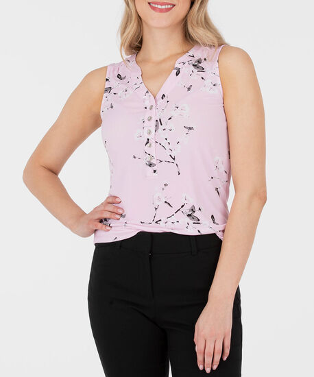 Sleeveless Button Front Henley Top, Cameo Pink/Black/Grey, hi-res