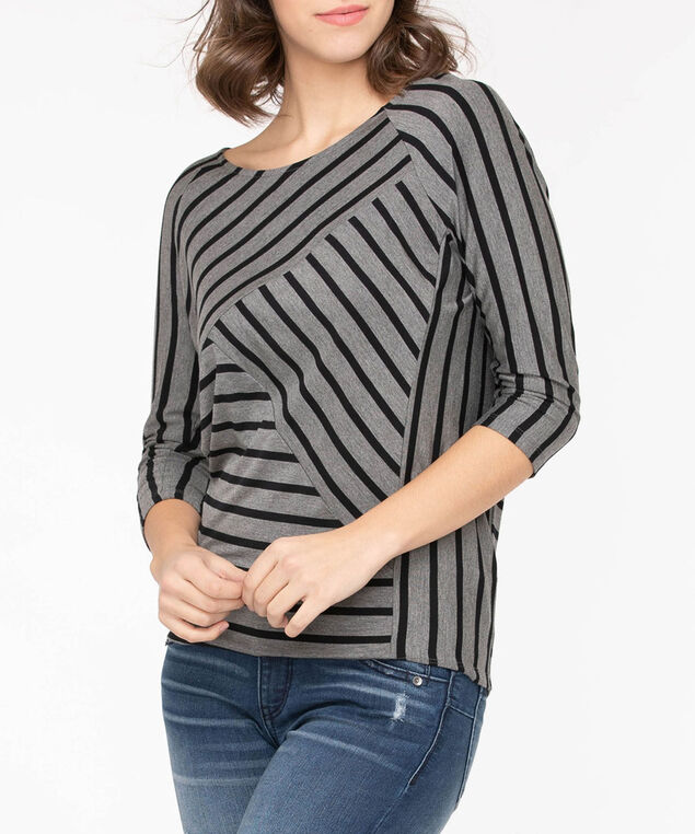 Spliced Stripe 3/4 Sleeve Top, Black/Grey, hi-res