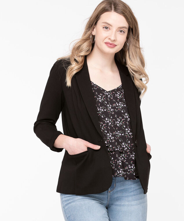 Ponte Single Button Blazer, Black