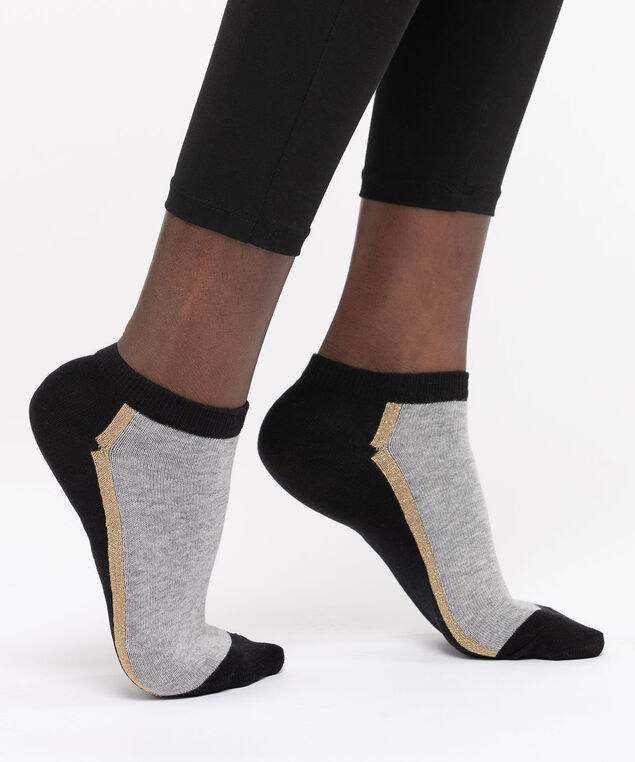 Colourblock Lurex Stripe Ankle Socks, Black/Grey/Gold, hi-res