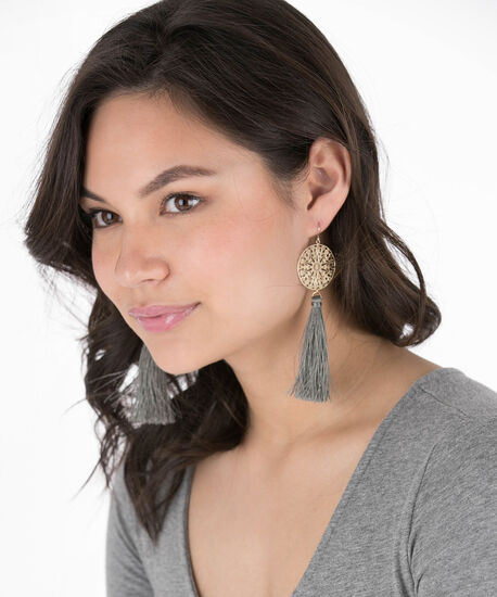Filigree Disc & Tassel Earring, Grey/Soft Gold, hi-res