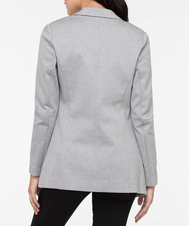 Long Sleeve Ponte Open Blazer, Grey, hi-res