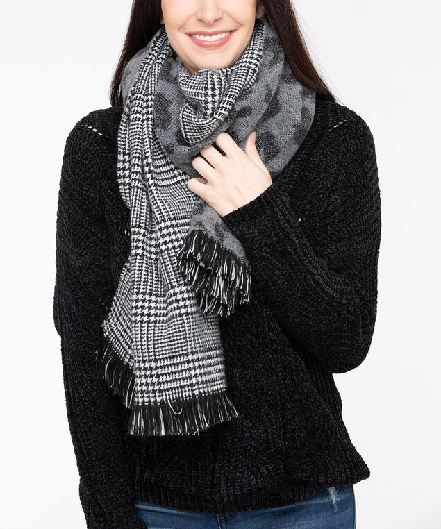 Double Sided Oblong Scarf, Black/Grey, hi-res