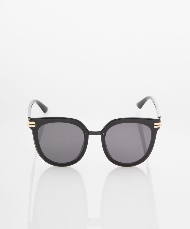 Gold Detail Cateye Sunglasses, Black/Gold, hi-res