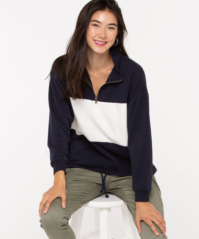Long Sleeve Half Zip Pullover, Navy/Pearl, hi-res