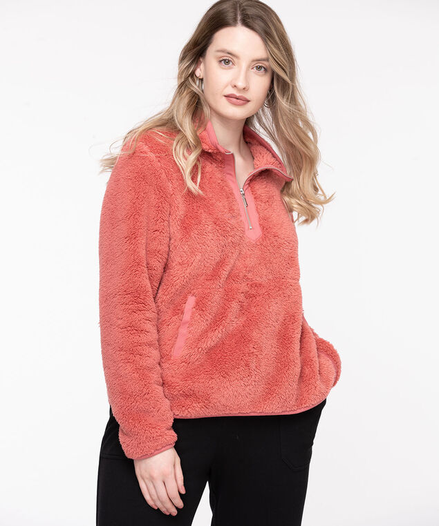 Plush Fleece Zip Neck Pullover, Dusty Cedar