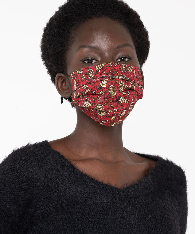Printed Face Mask 2-Pack, Chili Pepper Paisley/Black