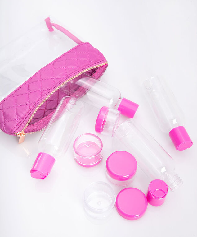 Travel Bottle & Carrying Case Set, Bright Pink/Rose Gold, hi-res