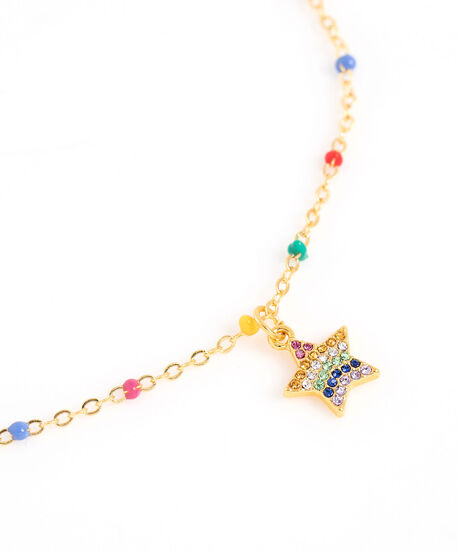 Rainbow Star Beaded Necklace, Gold, hi-res