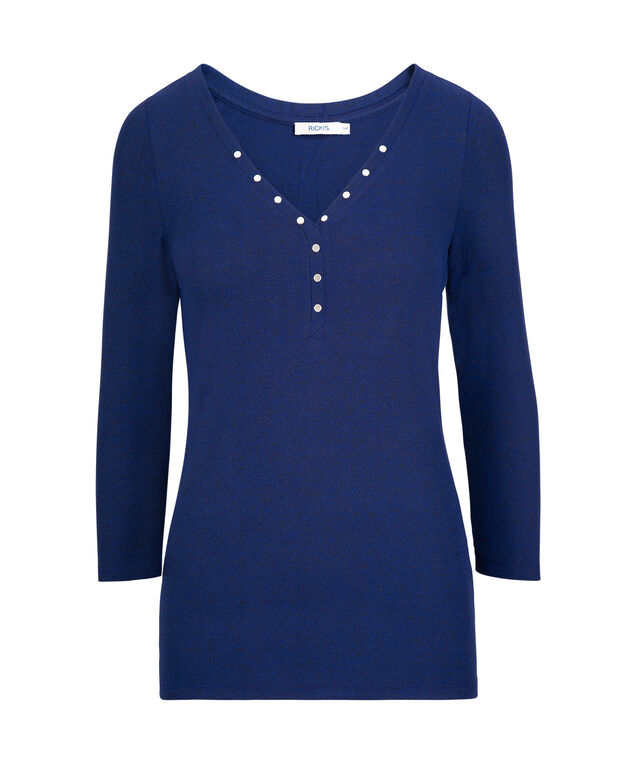 Studded Long Sleeve Henley Top, Cobalt, hi-res