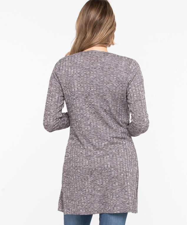 Ribbed Longline Open Cardigan, Heather Grey, hi-res