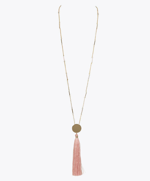 Gold Disc Pink Tassel Necklace, Pastel Pink/Gold, hi-res