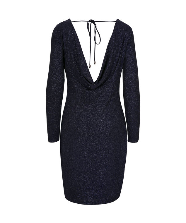 Glittery Cowl Back Cocktail Dress, Navy, hi-res
