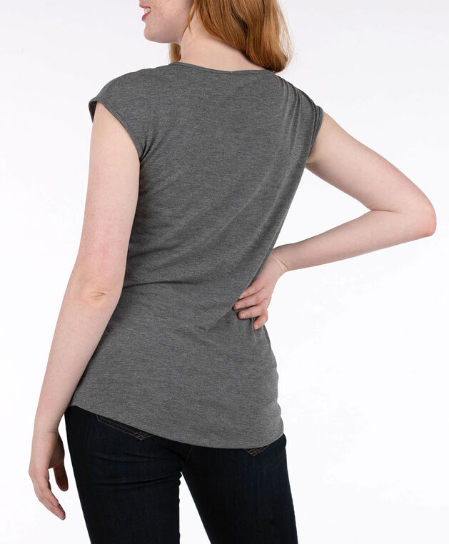 Heart Graphic Extended Sleeve Top, Grey/Black, hi-res