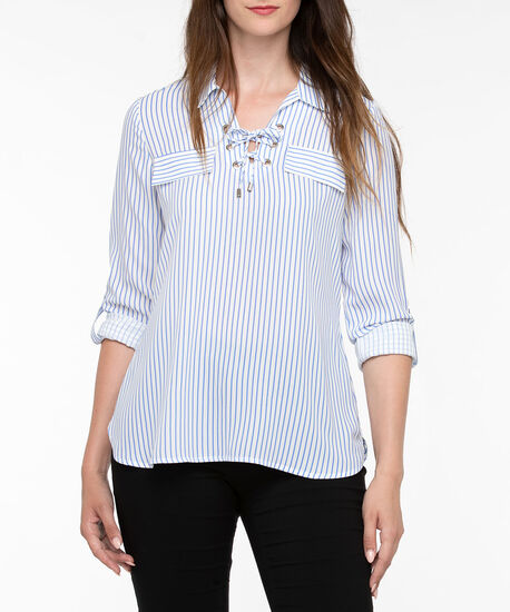 Striped Lace Up Pullover Shirt, Pearl/Cerulean Blue, hi-res