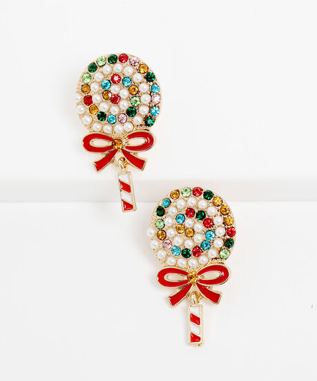 Dangly Lollipop Earring, Gold/Red/White, hi-res