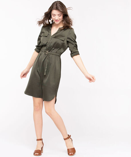 Long Sleeve Satin Shirt Dress, Basil, hi-res