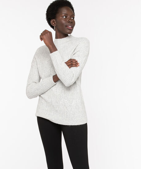 Cable Knit Mock Neck Sweater, Light Grey, hi-res