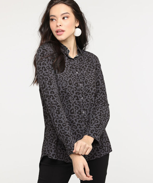 Leopard Print Button Front Collared Shirt, Charcoal/Black, hi-res