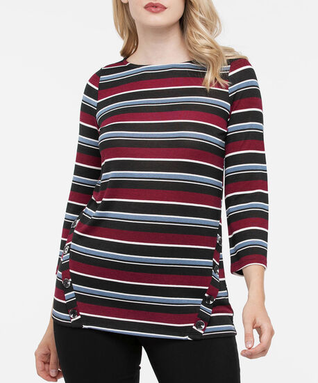 Button Detail 3/4 Sleeve Top, Black/Burgundy/Soft Blue, hi-res