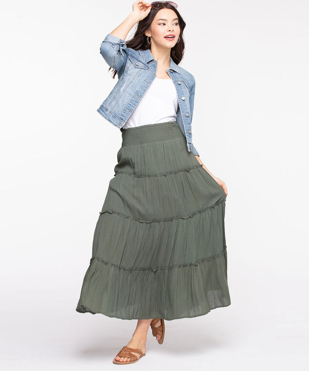 Smocked Waist Tiered Maxi Skirt, Spruce