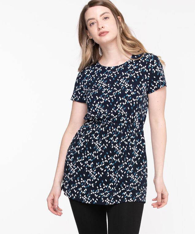 Short Sleeve Scoop Neck Tunic, Black Geo