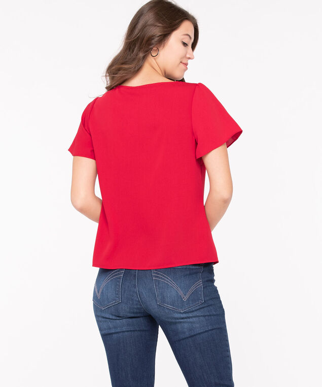 Flutter Sleeve Button Front Blouse, Hibiscus