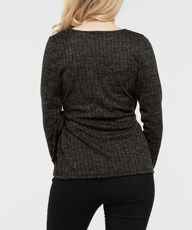 Long Sleeve Ribbed Faux Wrap Top, Black, hi-res