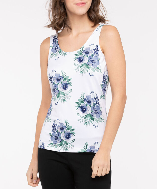 Floral Built Up Scoop Neck Cami, Pearl/Lilac/Deep Green, hi-res
