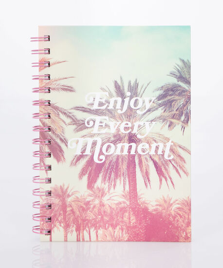 Enjoy Every Moment Spiral Notebook, Cameo Pink/Soft Teal, hi-res