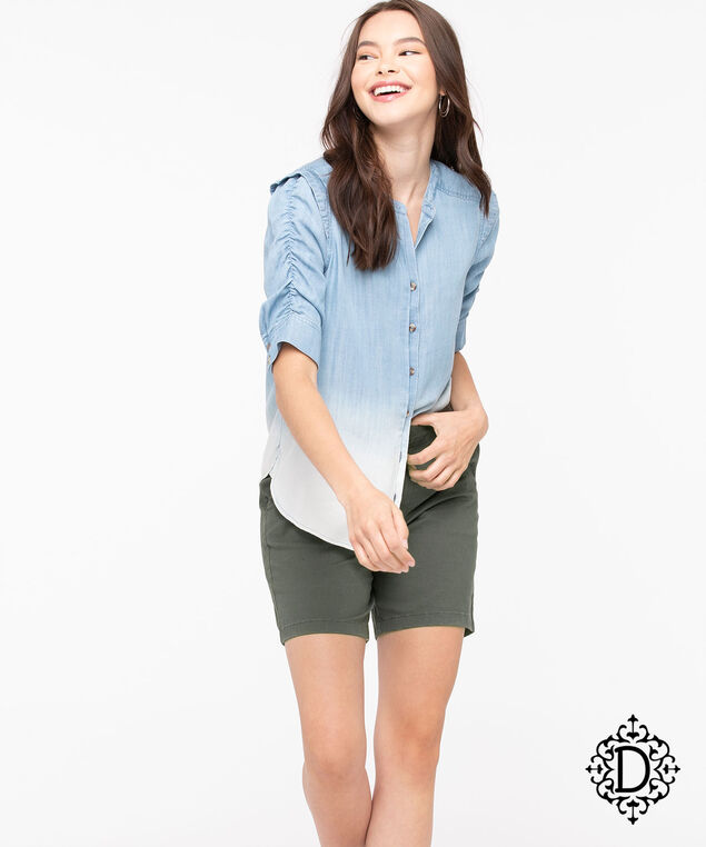 Democracy Ombre Ruched Sleeve Blouse, Light Wash/Pearl, hi-res