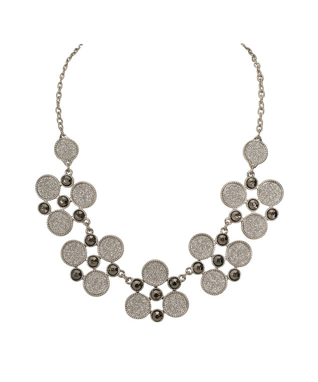 Crystal & Glitter Paper Statement Necklace, Silver/Rhodium, hi-res