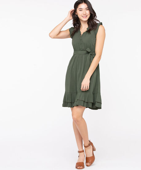 Flutter Sleeve Ruffle Trim Dress , Olive, hi-res
