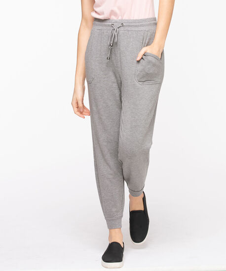 French Terry Drawstring Joggers, Heather Grey, hi-res