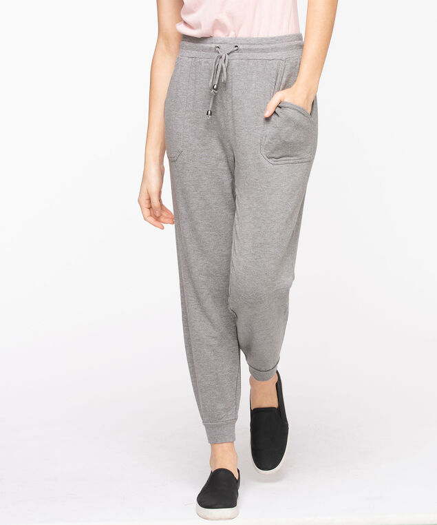French Terry Drawstring Joggers, Heather Grey