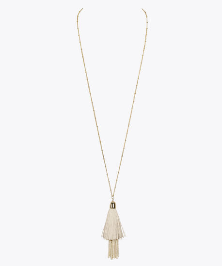 Beaded Tassel Pendant Necklace, Pearl/Gold, hi-res