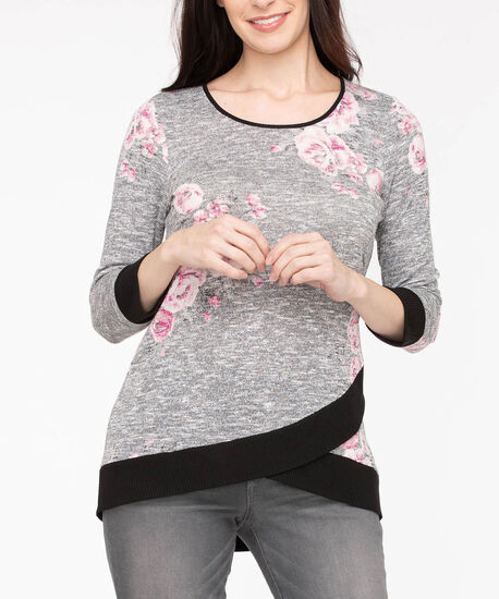 3/4 Sleeve Tulip Hem Top, Light Heather Grey/Black/Dusty Blush, hi-res