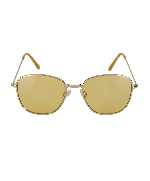 Square Yellow Lens Sunglasses, Yellow/Gold, hi-res