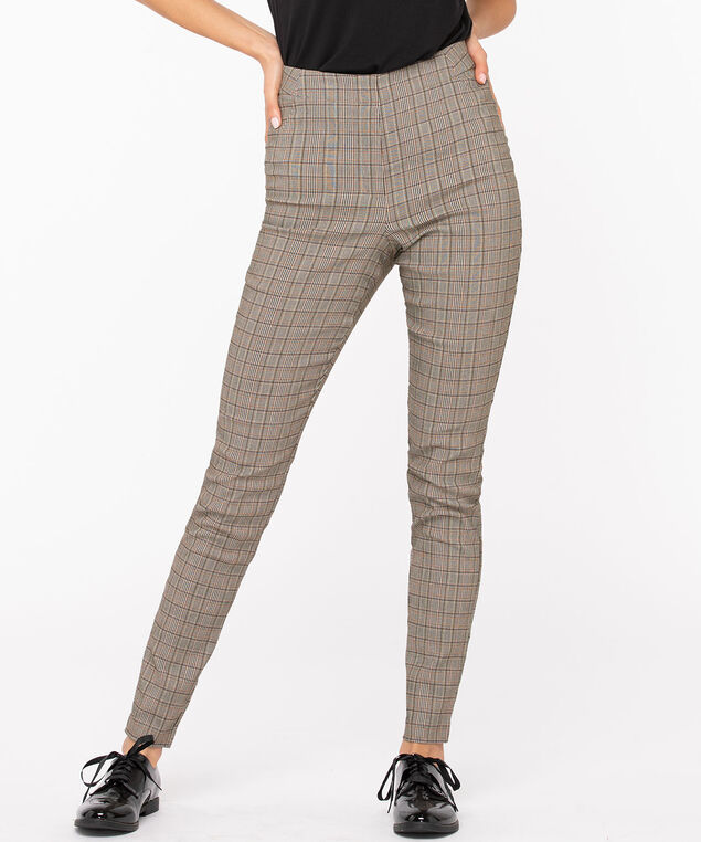Microtwill Plaid Super Slim Leg, Brown/Black/Gold, hi-res