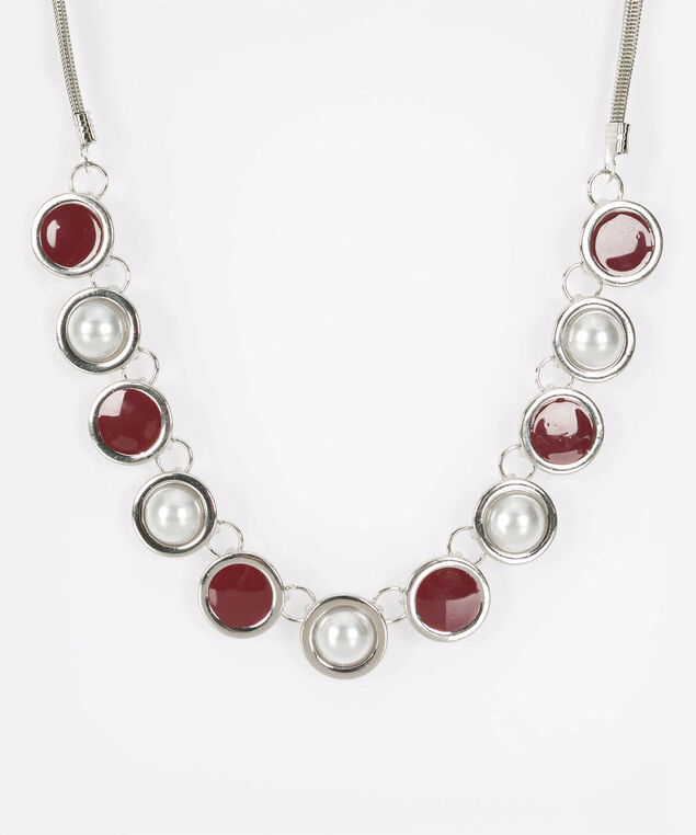Pearl & Painted Disc Statement Necklace, Burgundy/Rhodium, hi-res