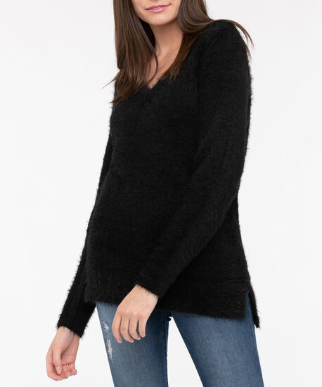 V-Neck Feather Yarn Sweater, Black, hi-res