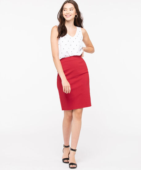 Microtwill Pull on Pencil Skirt, Hibiscus, hi-res