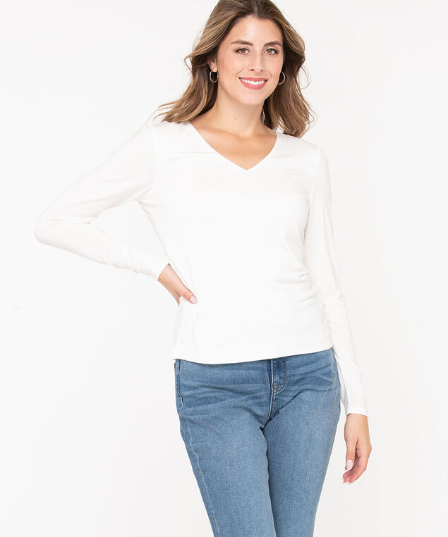 V-Neck Layering Essential Top, Pearl