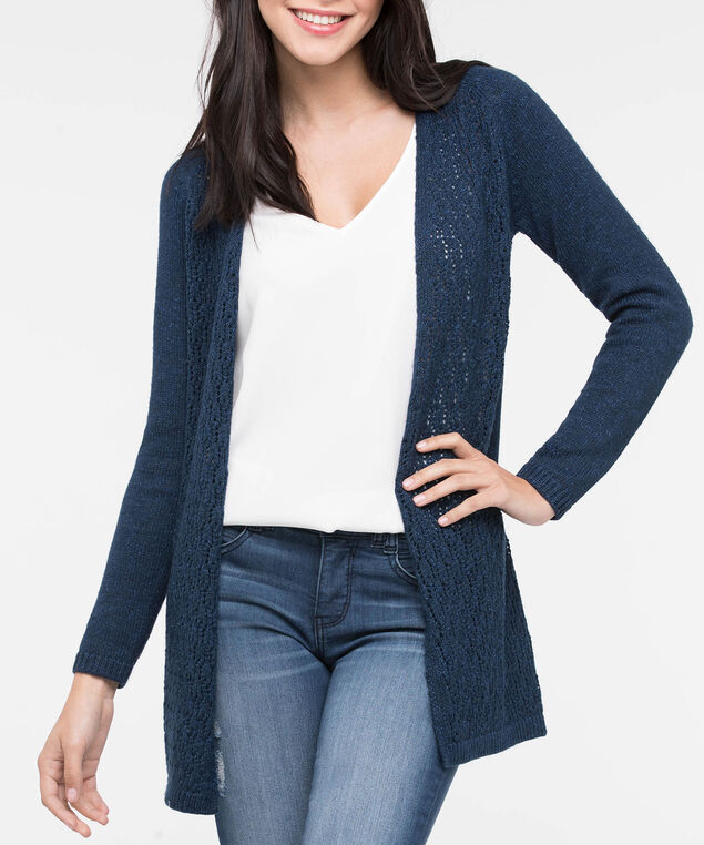 Lace Up Back Open Cardigan, Steel Blue, hi-res