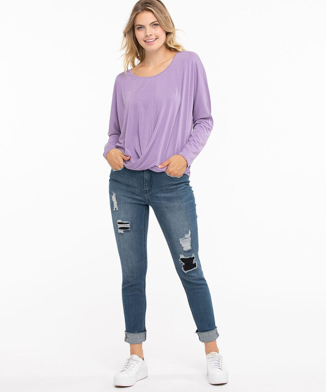Long Sleeve Knot Front Top, Chalk Violet