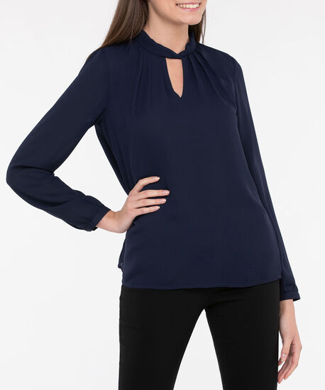 Long Sleeve Twisted Keyhole Blouse, True Navy, hi-res