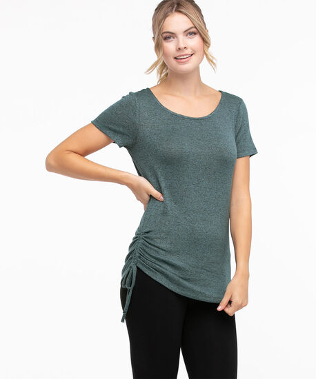 Side Ruched Hacci Tee, Tapestry/Black Mix, hi-res