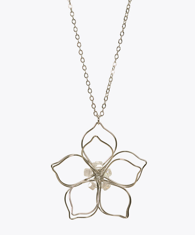 Wire Flower Pendant Necklace, Rhodium, hi-res