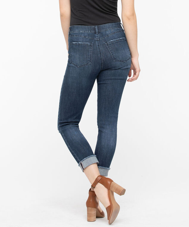 Distressed Roll Cuff Crop Jean, Dark Wash, hi-res