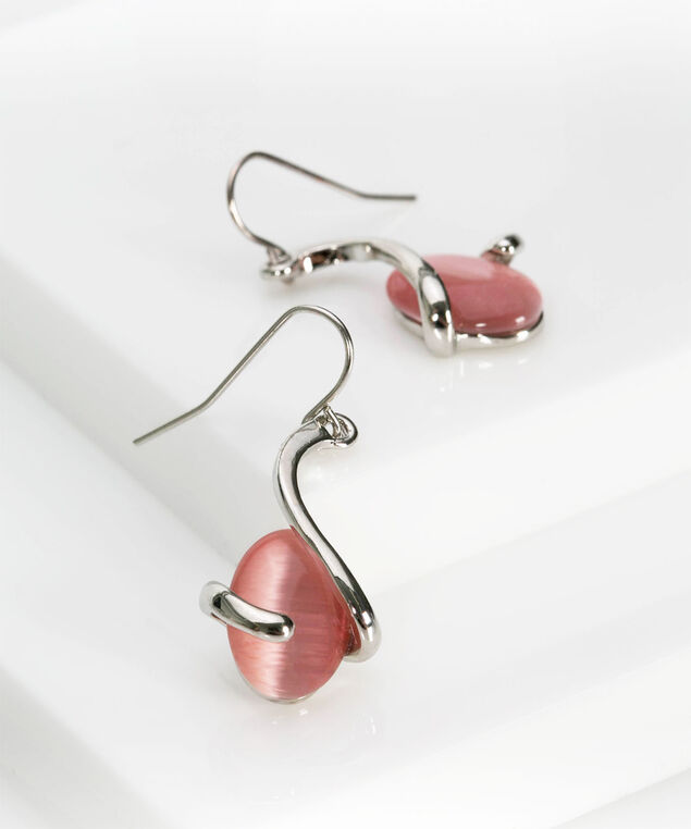Spiral Wrapped Cateye Earring, Rhodium/Cameo Pink, hi-res